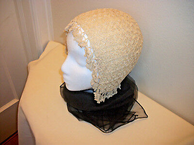 Antique Crocheted Lined Night Cap Bed Bonnet Head Cover #28