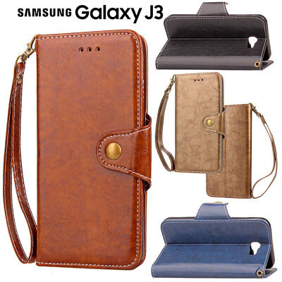 Samsung Galaxy J3 2016 Premium Leather Wallet Stand Card Holder Skin Case Cover