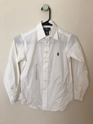 Boys Polo Ralph Lauren Long Sleeve Shirt White Size 8 New Button Front