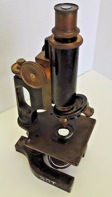 Antique Bausch & Lomb Brass & Cast Iron Microscope, Pat. 12-1-1906, 2 Lenses