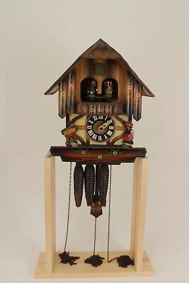 Vintage Black forest style musical chalet wall hanging cuckoo clock for repair.
