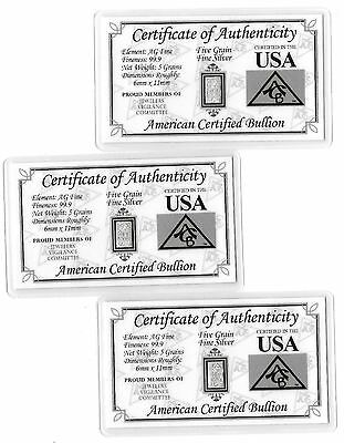 Pure Mint Fine 99.9 AG Silver 5 Grain Bar Collectible US Card Collection USA Lot