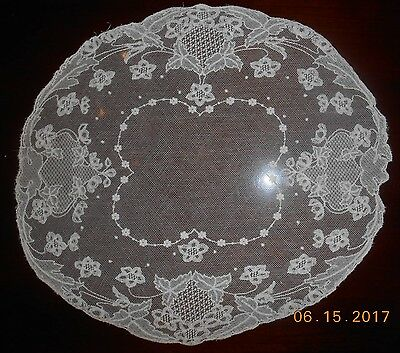 """Antique White Round Tambour Net Lace Embroidered Centerpiece Doily 15"""""""