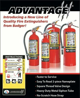 Badger Advantage Dry Chemical ABC Rechargeable Fire Extinguisher All Sizes