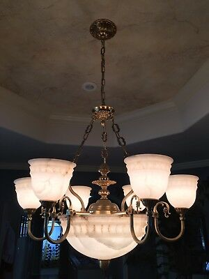 Beautiful Bronze and Alabaster Six Arm Chandelier