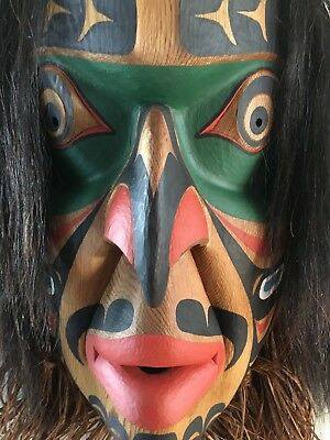 "Large Northwest Coast Mask Carved by David Neel...""Wildman of the Woods"" Signed"