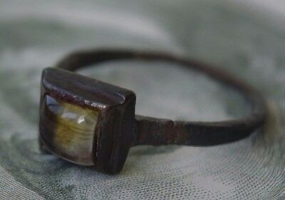 Old ancient Viking ring, shield with natural amber 10-14century a3