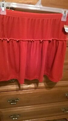 Lands End Girls red velveteen tiered skirt  size large 14 new with tags