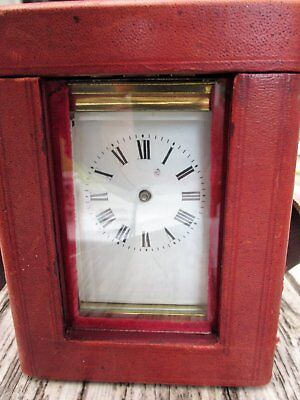 Carriage Clock with leather case for refurbishment