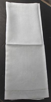 Antique Nubby Linen Bath Towel Scrollwork Hemstitched Snowy White
