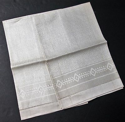 Antique Pair Linen Damask Towels Diamond Pattern Unused w/ Tags GERMANY Elegant!
