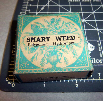 Vintage Huber & Fuhrman SMART WEED, 1900s Pharmacy New box, Fond du lac Wisc
