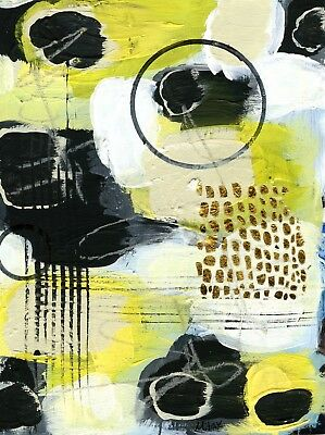 MITAK Signed Original *COA* Mixed-Media Recycled Paper Collage Modern Art Gold