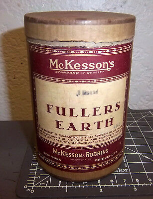 Vintage 1890/1900s Pharmacy package McKessons FULLERS EARTH, partially full