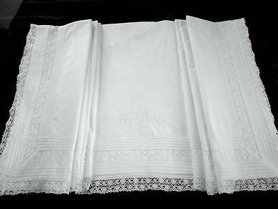 Antique French Cluny Lace Pintucked Queen Flat Bed Sheet Monogram ADL