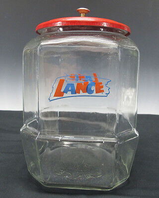 Vintage LANCE Cracker Cookie Store Counter Display Advertising Glass Jar NR yqz