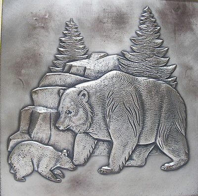 Donald Richard Miller American GRIZZLY BEAR Silver Relief Wall Sculpture #1 yqz