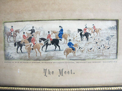 Antique 19th C Stevengraph Woven Silk Picture Tapestry The Meet Fox Hunt yqz