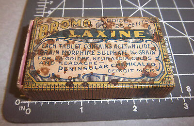 Vintage BROMO LAXINE box w papers inside, great graphics, Detroit Michigan