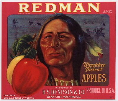 REDMAN Vintage Washington Apple Crate Label Indian, red, ***AN ORIGINAL LABEL***