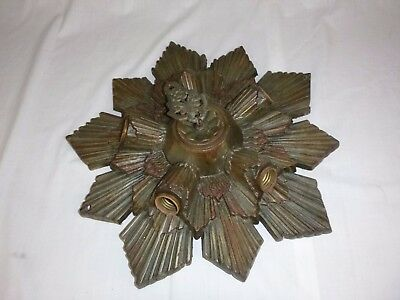 Vtg Antique HALCO LITE CO Art Deco Cast Iron 5 Socket Ceiling Light Fixture