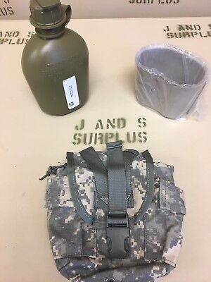 3 Piece Set Canteen Cover Cup Official USGI Issue Surplus 1 Qt ACU un issued