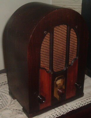 Antique 1931 Westinghouse Wr-14 Cathedral Two Tone Wood Tube Am Old Radio Works