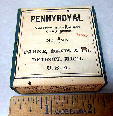Vintage Parke Davis & co, PENNYROYAL, 1900s Pharmacy New unopened box NOS