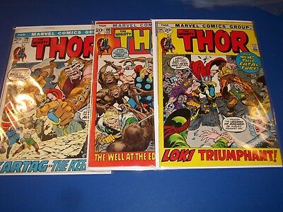 The Mighty Thor #194,195,196 Bronze Age Run of 3 Fine/Fine- Beauties