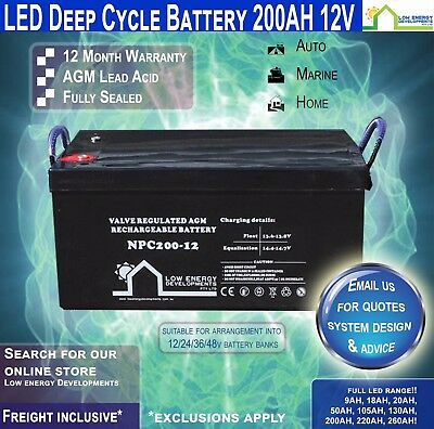 200AH Amp Hour 12V Battery AGM Deep Cycle 12V -LED -Freight Inc-