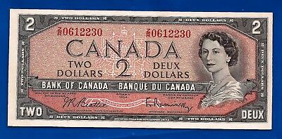 CANADA 1954 Canadian two 2 DOLLAR BILL NOTE prefix Z/R EF ?