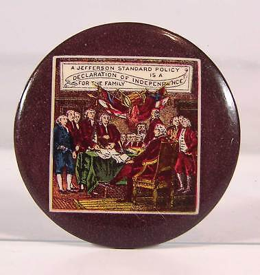 1910s CELLULOID ADVERTISING POCKET MIRROR - THE JEFFERSON INSURANCE COMPANY
