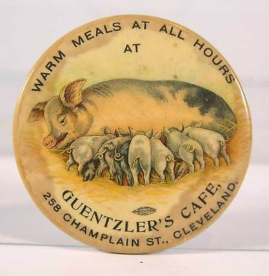 ca1905 CELLULOID ADVERTISING POCKET MIRROR - CLEVELAND OHIO GUENTZLERS CAFE