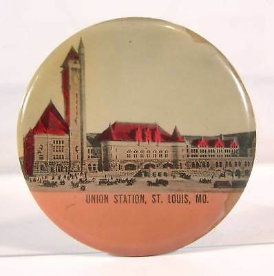 ca1904 CELLULOID ADVERTISING POCKET MIRROR - ST LOUIS UNION RAILROAD STATION