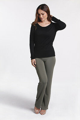 BNWT Bamboo Body Essential Pants Lichen Green suit maternity L (14) work casual