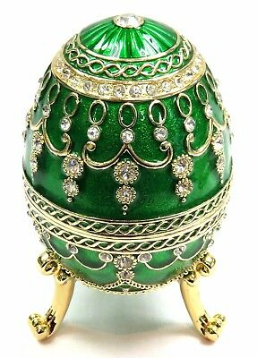 Decorative Faberge Egg Trinket Box Jewel Easter Egg Box with Crystals, Green Col