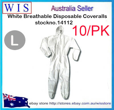10/PK Wht Breathable Disposable Coveralls,Disposable Protective Clothing-14112