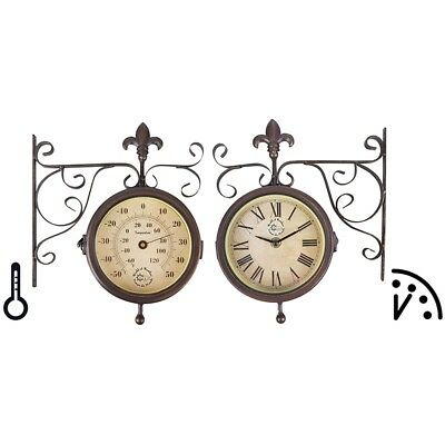 Esschert Design Station Clock with Thermometer TF005 Double Sided Antique