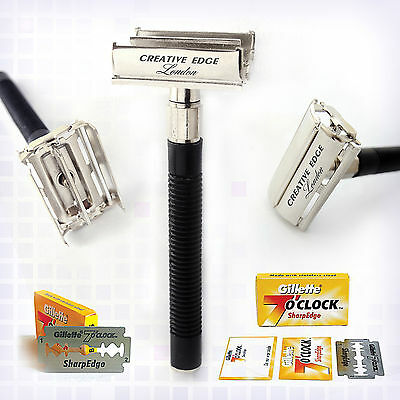 Butterfly Safety Razor & Gillette Double Edge Blades Classic Shaving Holder FREE