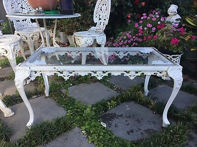 Garden Outdoor Coffee Table Only -  White Vintage Metal Shabby But Chic