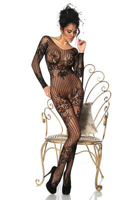 Sexy Langarm Bodystocking Netzbody ouvert Catsuit Netz Body Stocking Overall