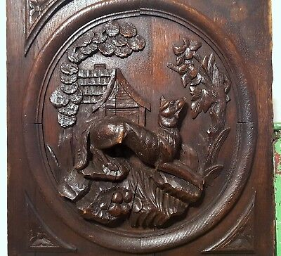 Carved Wood Panel Weathered Antique French Wolf Hunting Scene Trophy Carving