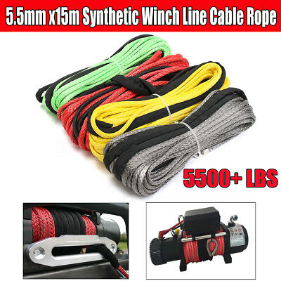 5.5mmx15m Synthetic Winch Line Cable Rope 5500+ LBs + Sheath For ATV UTV