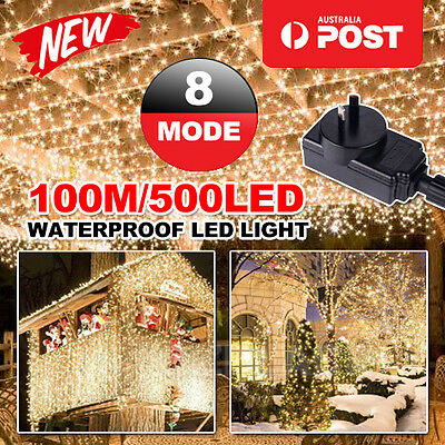AU 500LED 100M Warm White Fairy Christmas String Lights Wedding Party Garden SAA