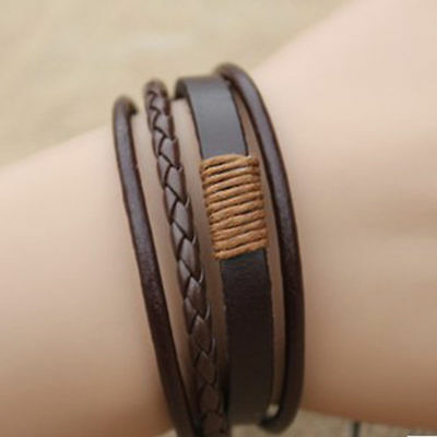 Fashion Retro Multilayer Leather Wristband Bracelet Cuff Bangle Men Women