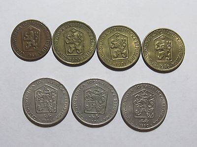 Lot of 7 Different Old Czechoslovakia Coins - 1964 to 1980 - Circulated