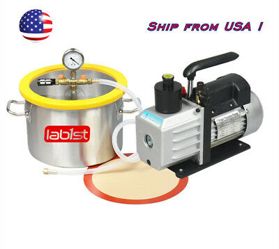 2 Gallon Stainless Steel Vacuum Degassing Chamber Kit, 3CFM Vacuum Pump, US Only