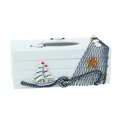 Home Room Car Hotel Tissue Box Wooden Cover Paper Napkin Holder - Sailboat