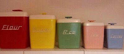 Vintage retro harlequin Nally ware 5 piece kitchen canister set