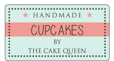 Personalised HANDMADE BY CUPCAKE Shop Shabby Vintage Labels Stickers - 519